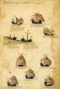 """Fragmento de la Escuadra de Vasco da Gama en el """"Livro das Armadas""""; aquí aparecen los buques de los Sodré"""
