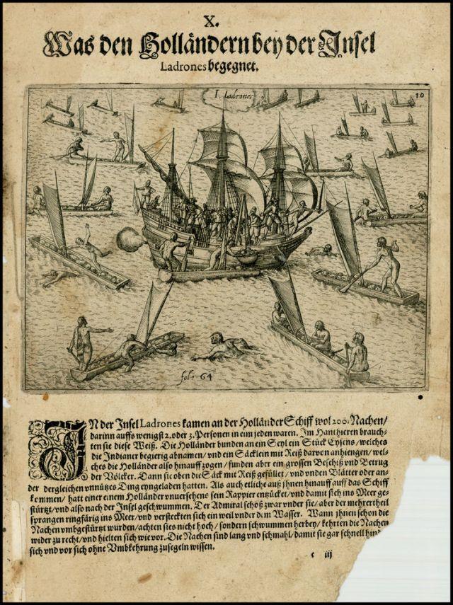 """Grabado de Teodoro de Bry en el que se observa el """"modus operandi"""" de los isleños al abordar la embarcación de los holandeses"""