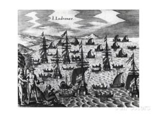 Flota fondeada en la Isla de los Ladrones