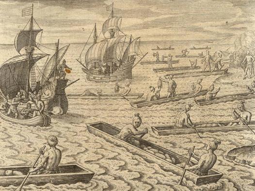 Chamorros de Guam acercándose a embarcaciones en el siglo XVII
