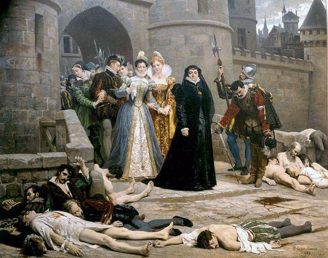 """""""Un matin devant la porte du Louvre"""" Catalina, de negro, en pie contemplando a los protestantes moribundos."""