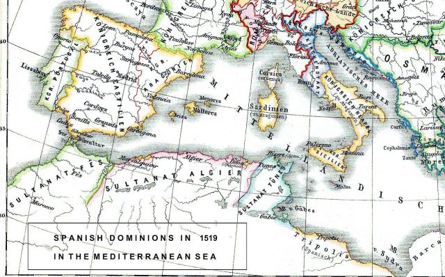 Europa y África en 1519 con los dominios españoles