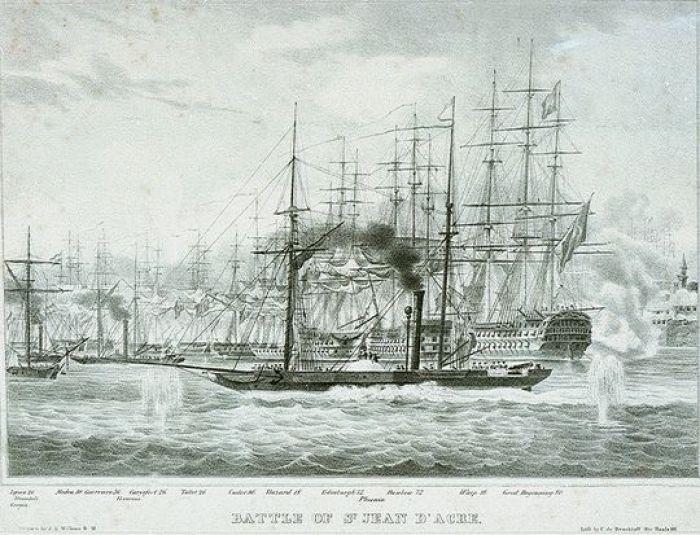 """El HMS """"Phoenix"""" en el bombardeo de Acre."""