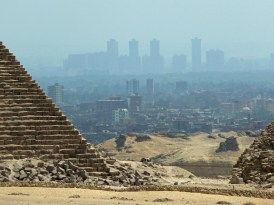 Polluted Cairo beyond the Pyramid of Menkaure and the Pyramids of Queens