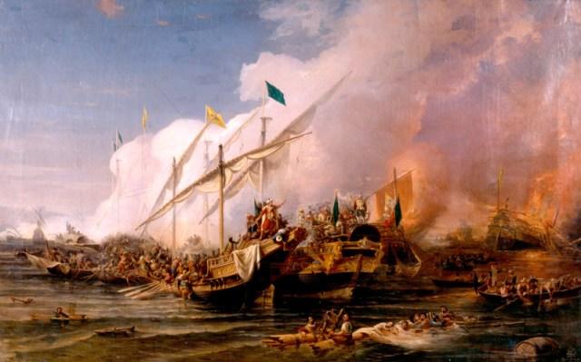 """""""Batalla de Preveza"""" (1538), por Ohannes Umed Behzad (1866)"""