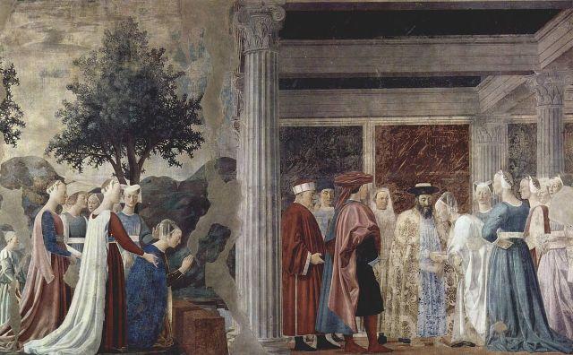 La adoración del Árbol Sagrado por la reina de Saba y El encuentro entre Salomón y la reina de Saba, ( Piero della Francesca h1452)