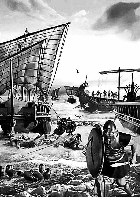 (Ilustración para el libro El poder naval de Grecia en el siglo V. a. C, de Arturo Sánchez Sanz, en HRM Ediciones).
