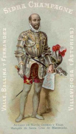 """Cromo publicitario de Álvaro de Navia Osorio y Vigil (Marqués de Santa Cruz de Marcenado), esponsorizado por Valle, Ballina y Fernández para la serie """"Personajes Españoles"""" (1901)"""