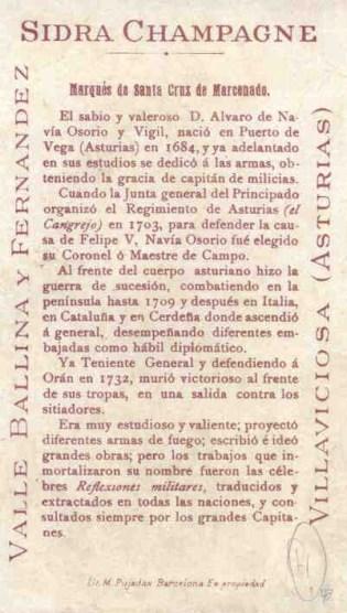 """Cromo publicitario de Álvaro de Navia Osorio y Vigil (Marqués de Santa Cruz de Marcenado), esponsorizado por Valle, Ballina y Fernández para la serie """"Personajes Españoles"""" (1901) (TRASERA)"""