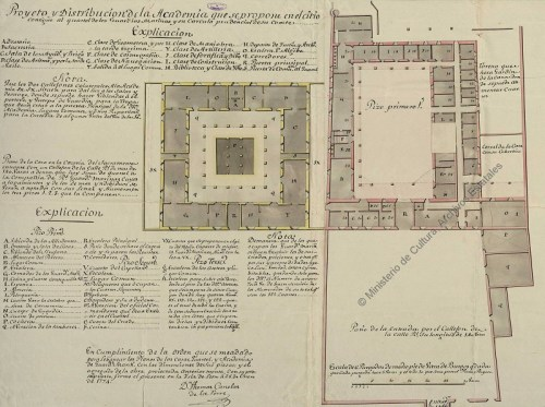 Proyecto y distribución de la Academia que se propone en el sitio contigüo al cuartel de los Guardiamarinas. Cádiz 1774