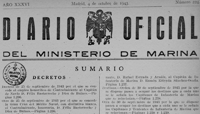 Recompensas a Félix Basterreche: ascenso a contraalmirante y la gran cruz del mérito naval.