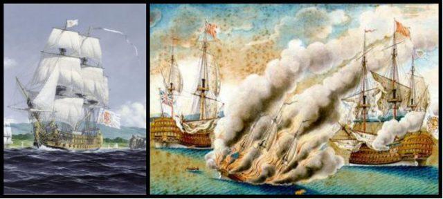 Combate entre el Real Felipe y el Namur cuando se le lanzó el brulote Ann Galley para incendiar el Real Felipe. Obra de José Manuel de Moraleda y Montero, 1783.