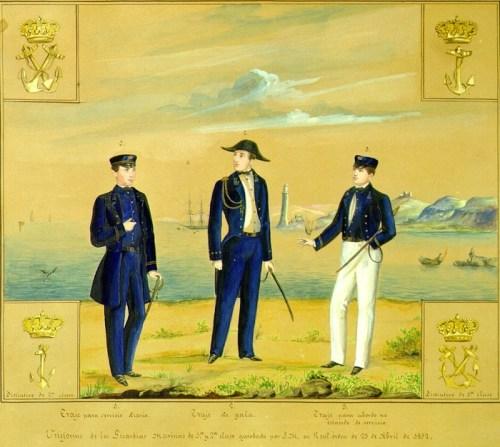 Uniforme de los guardia marinas de 1ª y 2ª clase aprobado por Real Orden de 23 de abril de 1857
