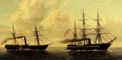 """Apresamiento del vapor norteamericano """"Virginius"""" por la corbete """"Tornado"""" (1873) Cuadro del Museo Naval"""