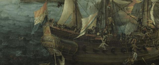 detalle de Batalla entre holandeses y españoles; Cornelis Claesz. van Wieringen, c.1621 (Museo Nacional de Ámsterdam)