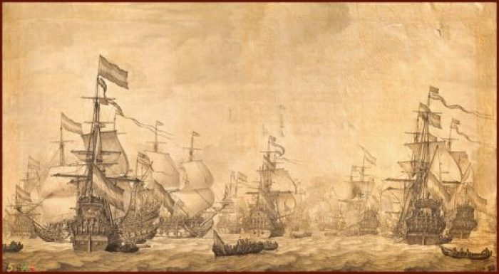 Flota Holandesa navegando en 1672. Willem Van De Velde The Elder
