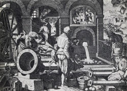 Grabado de Philips Galle (h1575) que muestra una fundición de cañones