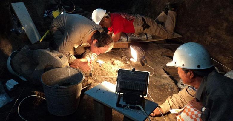 Arqueólogos del INAH durante los trabajos (Proyecto Tlalocan-INAH.)
