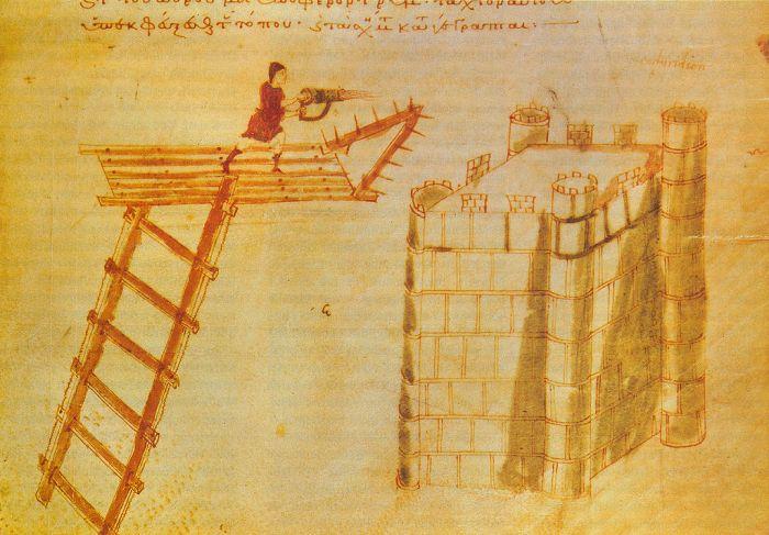 """El uso de un """"cheirosiphōn"""" un lanzallamas de la antigüedad. ¿El primer lanzallamas de la historia?"""