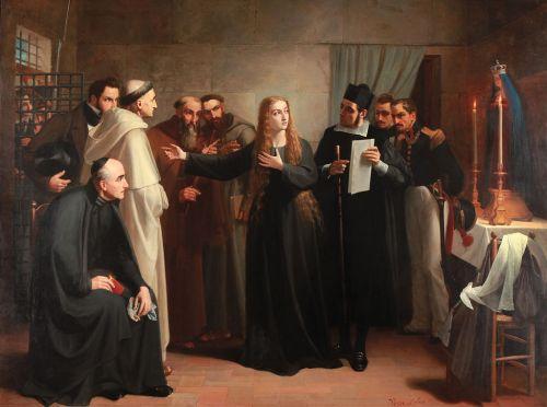Cuadro de Juan Antonio Vera Calvo de 1862 que muestra a Mariana Pineda en capilla, antes de ser llevada al cadalso