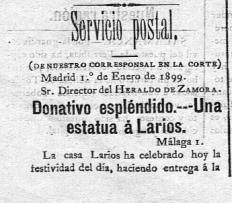 Heraldo de Zamora. 2 de enero de 1899.