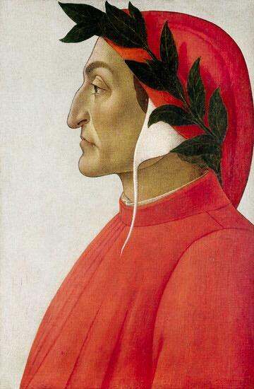 Sandro Botticelli, Dante Alighieri, tempera su tela, 1495, Ginevra, collezione privata