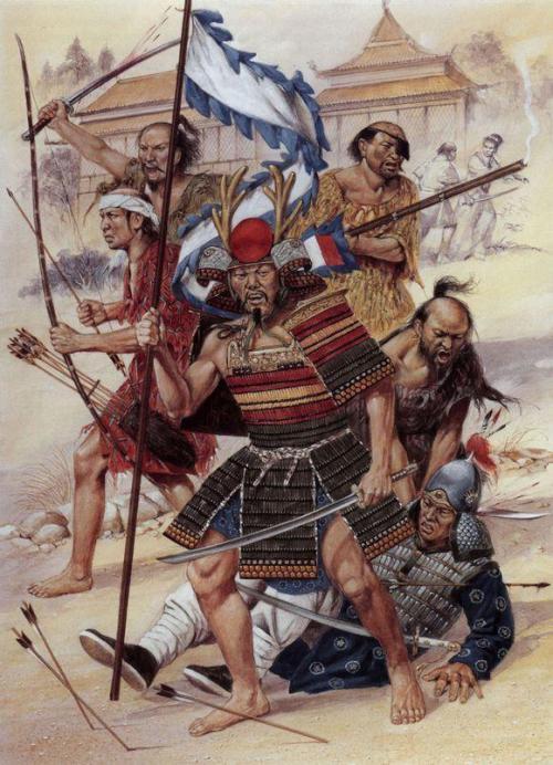 Ilustración de piratas que surcaban las aguas del sol naciente