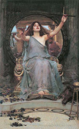 Circe ofreciendo la copa a Odiseo (Circe Offering the Cup to Odysseus, 1891). John William Waterhouse