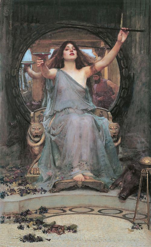 Circe ofreciendo la copa a Odiseo (Circe Offering the Cup to Odysseus, 1891). John William Waterhouse