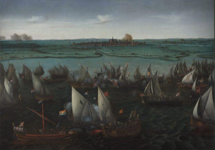 Batalla naval del Haarlemeermeer con la ciudad de Haarlem al fondo