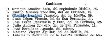 Baja de Cándido Irazábal en el Diario Oficial del Ministerio de la Guerra (septiembre 1922)