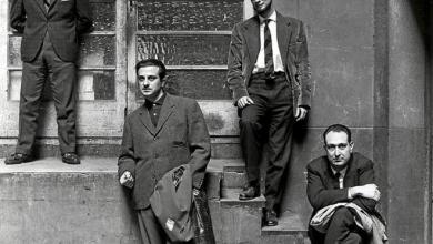 Jaime Gil de Biedma, José Agustín Goytisolo, Carlos Barral y Josep María Castellet