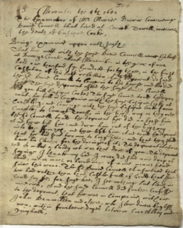 Examination of Maurice Browne, 4/11/1652, 1641 Depositions, Trinity College Dublin, MS 826, fols 002r-003v,