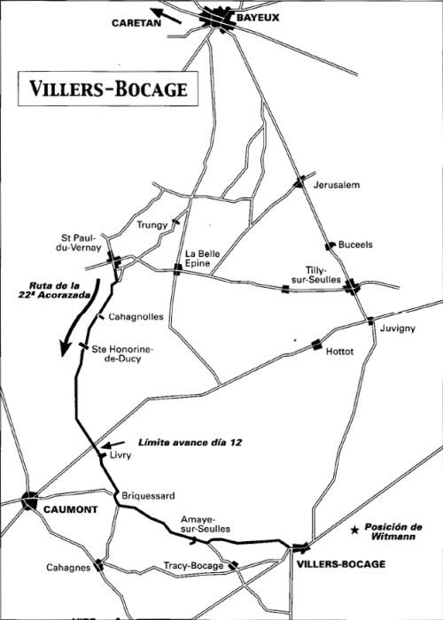 villers bocage 1944 mapa britanico tiger