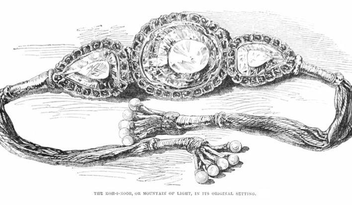 Una ilustración del diamante Koh-i-Noor (centro), como se usó antes de ser firmado por los británicos. (Wikimedia Commons)