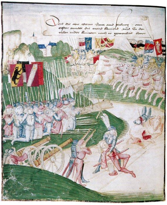 El ejército suizo (izquierda) y el ejército de Borgoña (derecha) en la batalla de Grandson. Ilustración de Diebold Schilling el Viejo (1483)