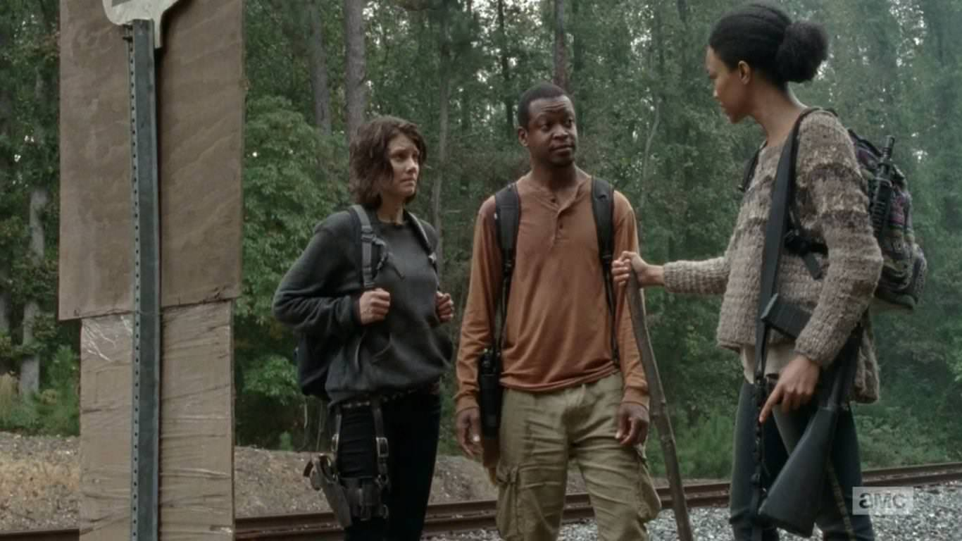 The Walking Dead 4x13 Alone - Maggie, Sasha y Bob descubren el cartel de Terminus