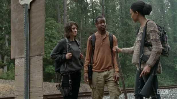 The Walking Dead 4x13 Alone - Maggie, Sasha y Bob descubren el cartel de Terminus