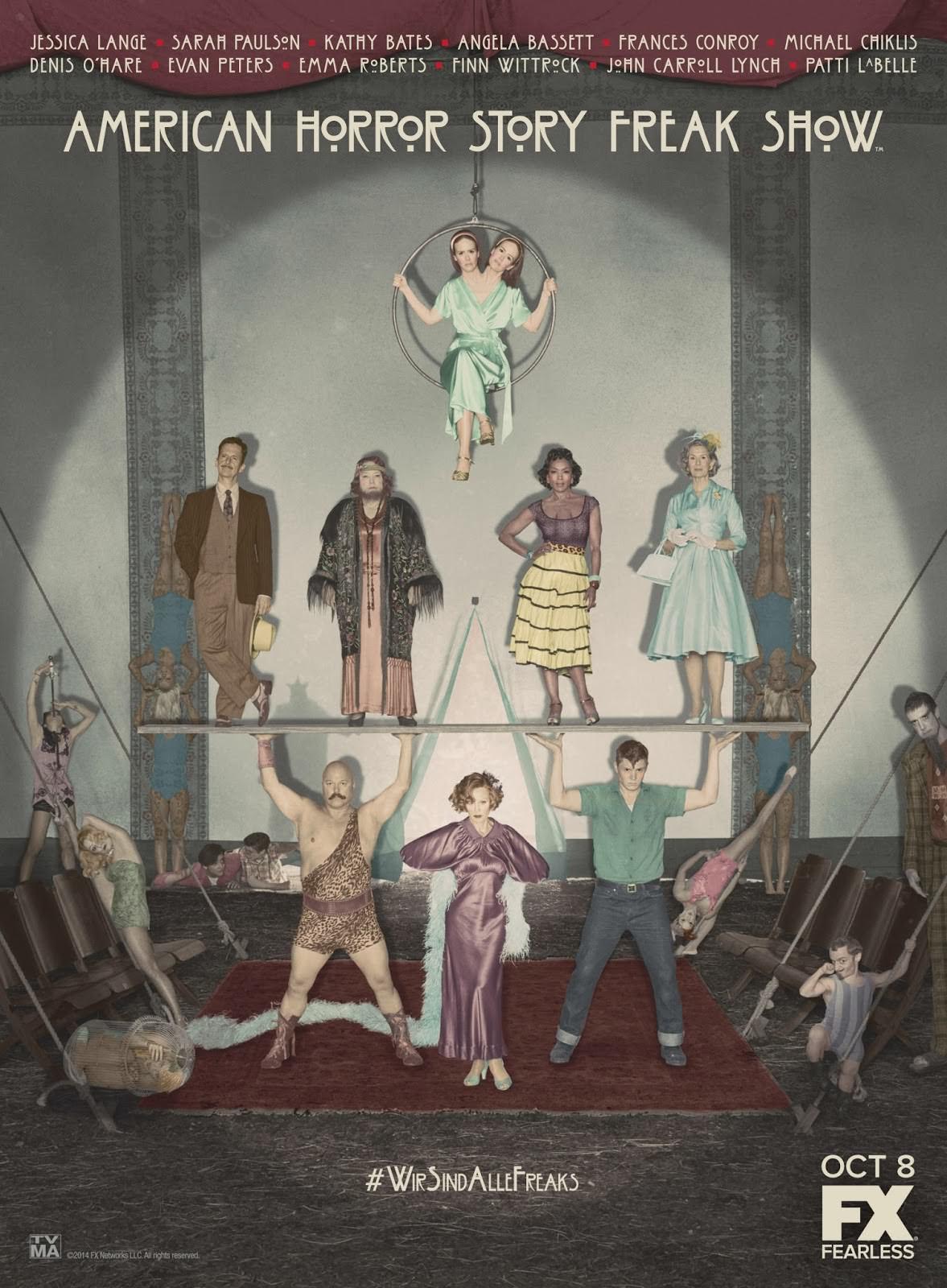 Novedades en American Horror Story: Freakshow - Primer póster promocional de todos los actores