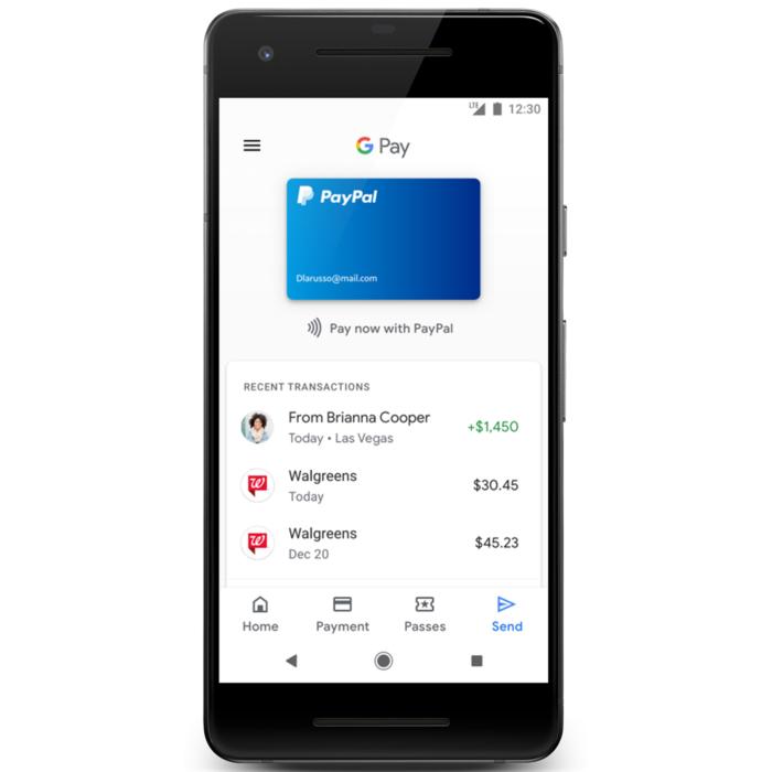 Google Pay con la opción de pago con Paypal.