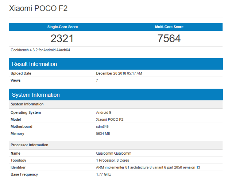 Screenshot_2018-12-28 Xiaomi Poco F2 Geekbench listing reveals CPU and RAM - Gizmochina