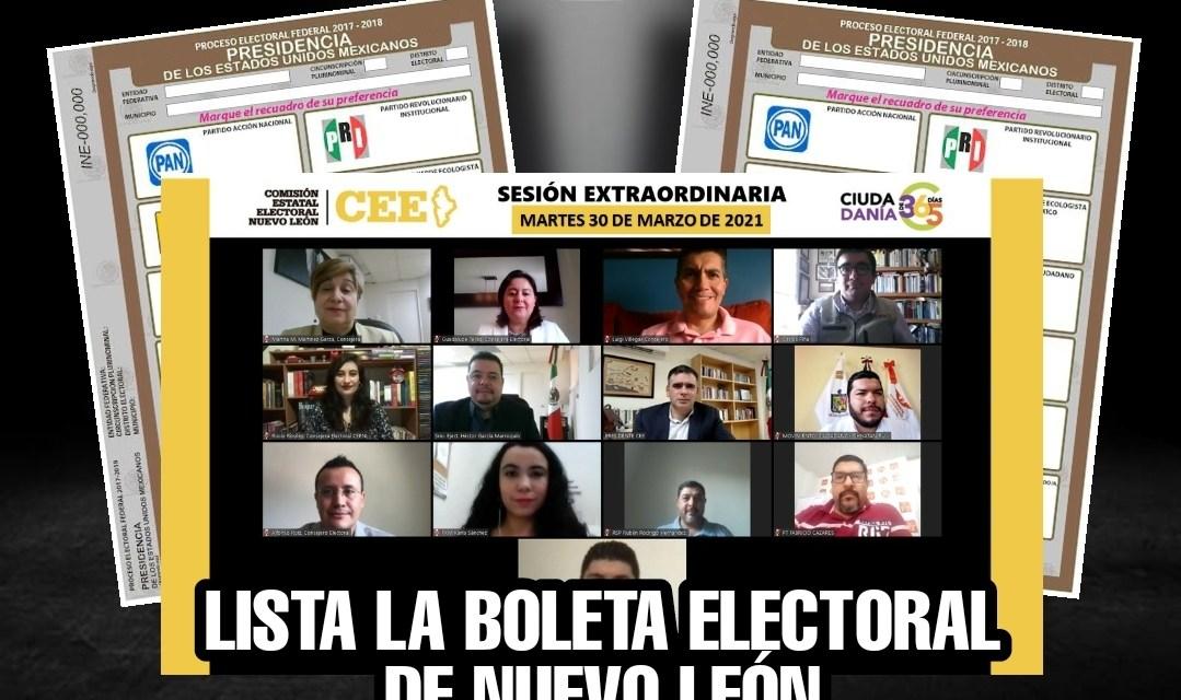 LISTA LA BOLETA ELECTORAL DE NUEVO LEÓN, ÚNICO LUGAR EN ESTA ELECCIÓN DONDE EL PAN APARECE EN PRIMER LUGAR