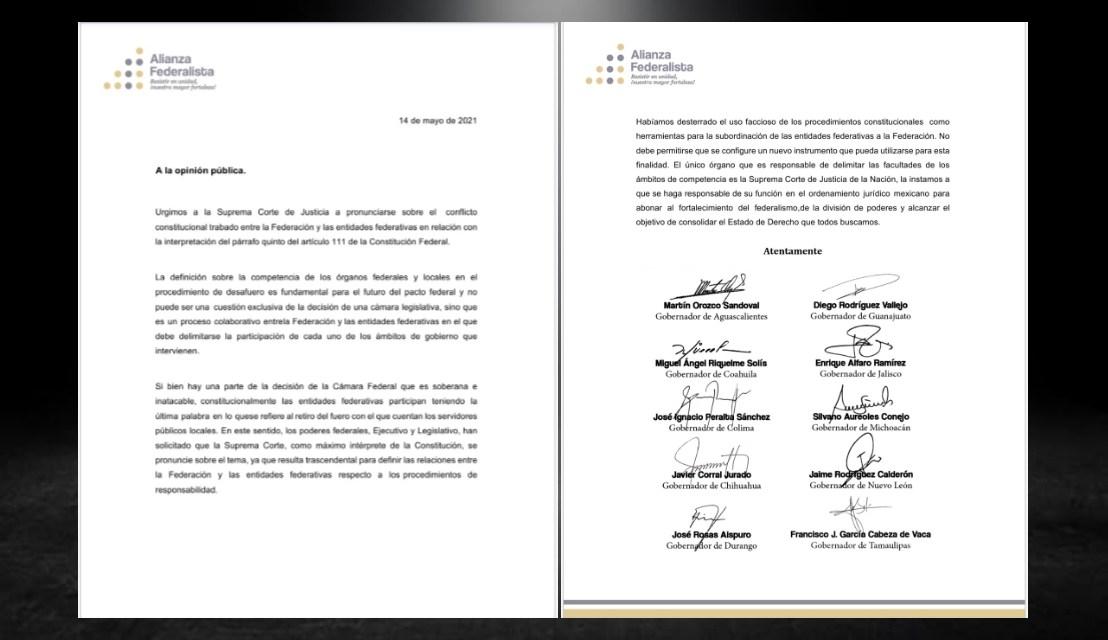 APOYAN MANDATARIOS A CABEZA DE VACA; PIDEN A CORTE DEFINIR SITUACIÓN POR DESAFUERO
