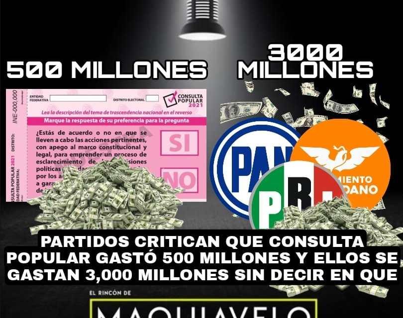 LA DOBLE MORAL DE TODOS LOS PARTIDOS POLÍTICOS, CRITICAN QUE SE GASTARON 500 MILLONES EN CONSULTA Y ELLOS SE GASTAN MÁS DE 3,000 MILLONES SIN DECIRNOS EN ¿QUÉ Y CÓMO?