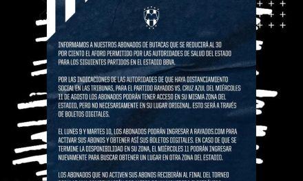 RAYADOS ANUNCIA OFICIALMENTE QUE REDUCIRÁN EL AFORO A 30%