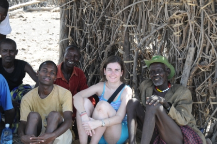 Sitting with Roberto and the tribesmen in the shade