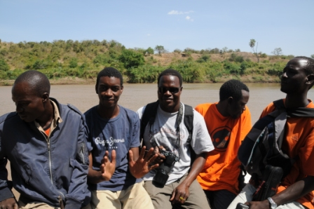 Half of the group crossing the Omo