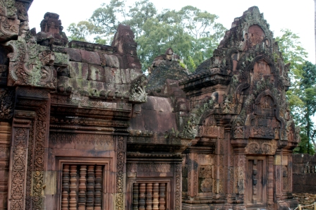 Banteay Srei temple made of pink sandstone