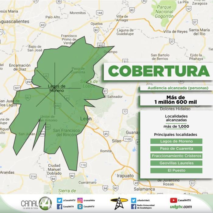 Mapa de Cobertura de Canal 44 desde su antena en Lagos de Moreno