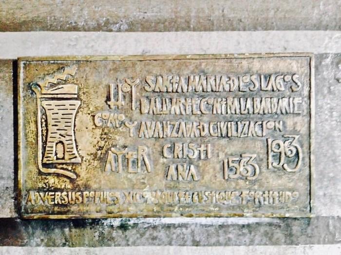 Placa robada de la Parroquia de la Asunción de Lagos de Moreno